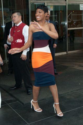 KeKe Palmer exits her midtown hotel during TV Week in New York