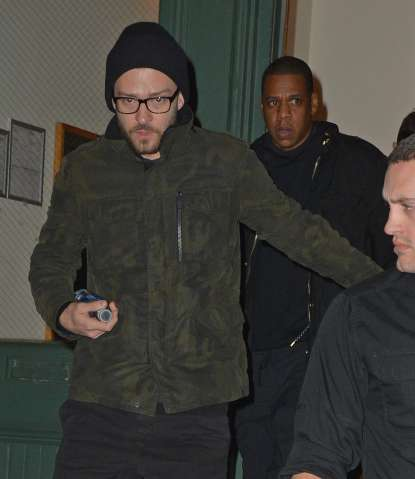 Justin Timberlake and Jay-Z leaving Taylor Swift's apartment in Tribeca, NYC.