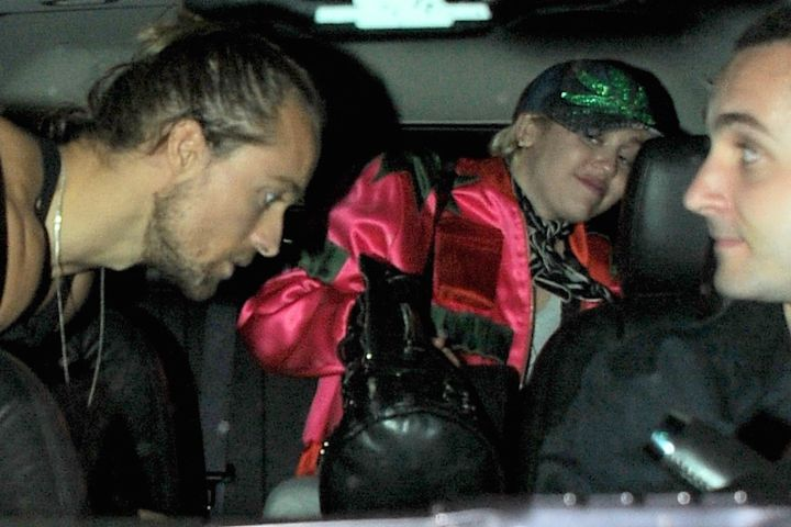 Miley Cyrus leaves Up and Down nightclub after partying with Rihanna in New York.
