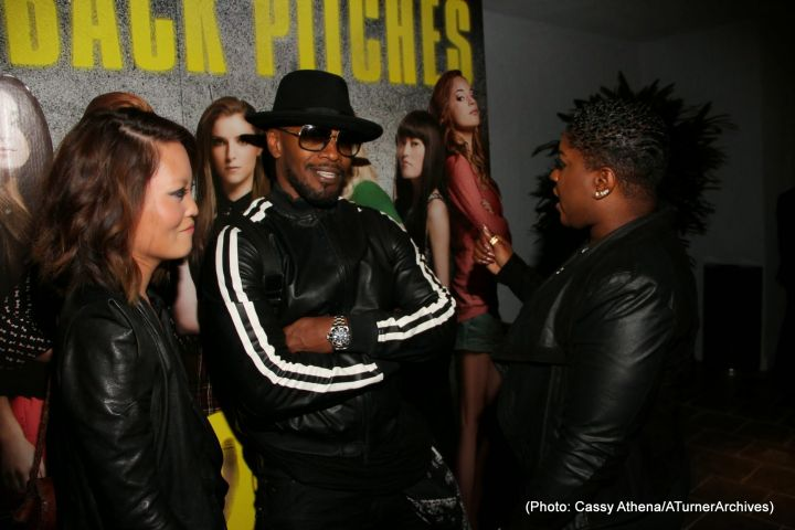 """Jamie Foxx kicked back for a movie last night during the private special screening of """"PITCH PERFECT 2,"""" hosted by stars Ester Dean and Hana Mae Lee."""