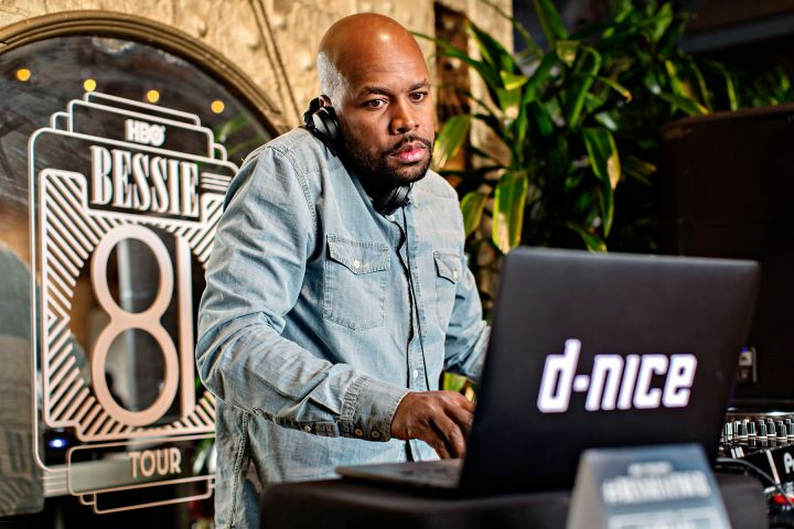 """DJ D-Nice Spinning On The 1s & 2s At HBO's Bessie """"81 Tour"""" In LA."""