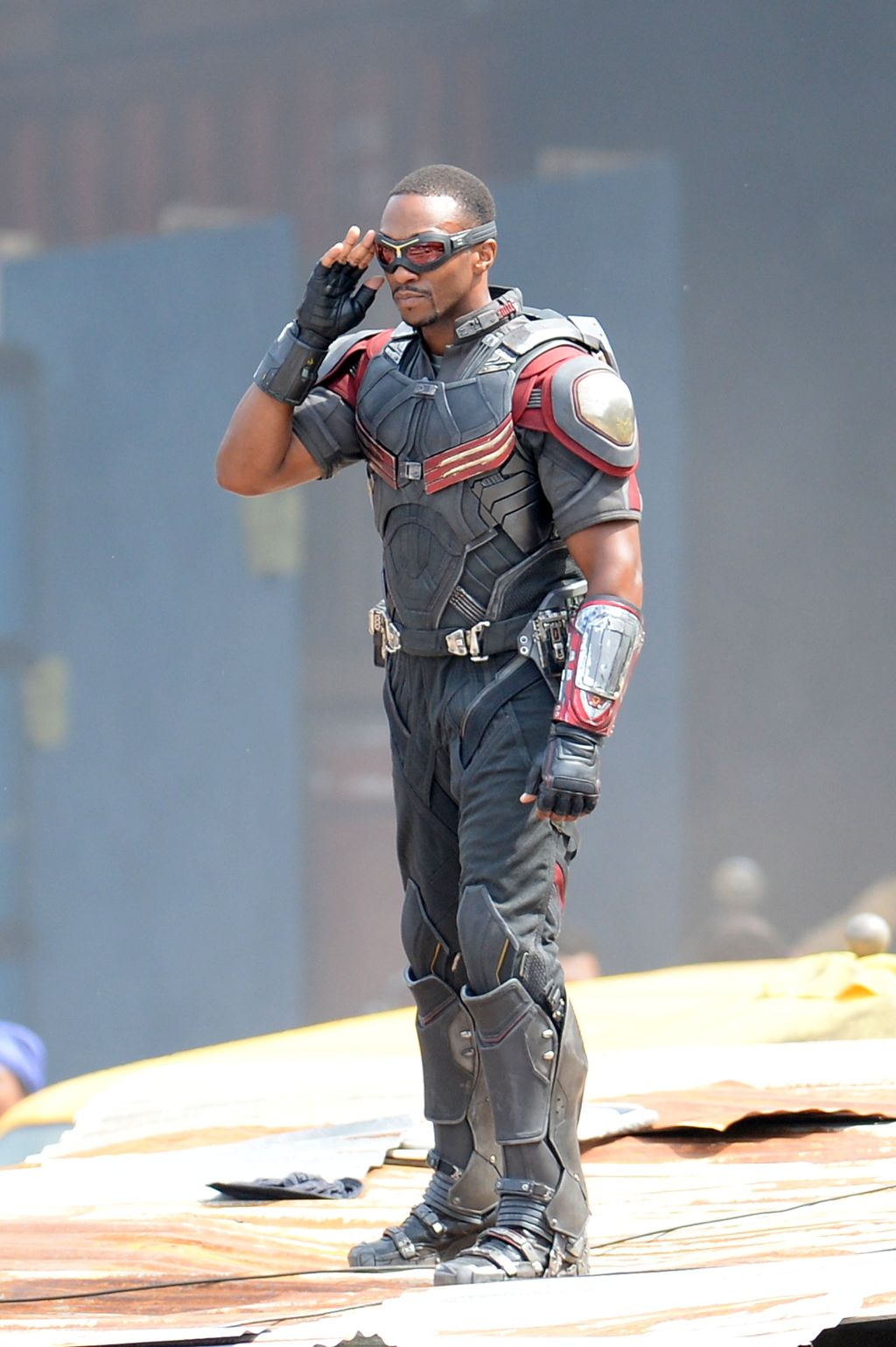 Anthony Mackie strikes a pose as Falcon on the set of Captain America: Civil War in Atlanta, Georgia.