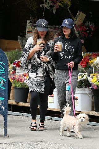 Actress Vanessa Hudgens and her sister Stella Hudgens walk her dog Darla on a coffee run in nyc