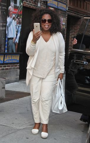Oprah Winfrey arrives for her final appearance on the 'Late Show with David Letterman' in NYC