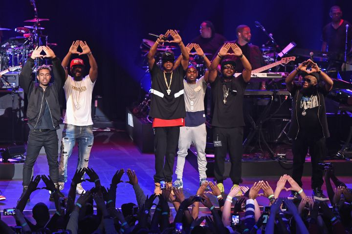 Neef Buck, Jay-Z, and Freeway appear onstage during TIDAL X: Jay-Z B-sides in NYC on May 16, 2015 in New York City