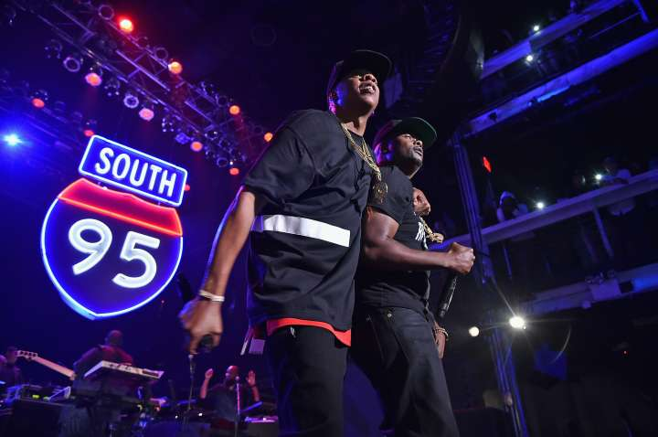 Jay-Z and Memphis Bleek perform during TIDAL X: Jay-Z B-sides in NYC on May 16, 2015 in New York City