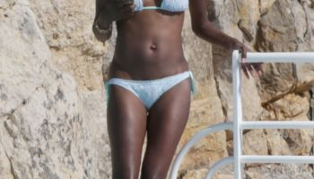 Lupita Nyong'o poolside in France