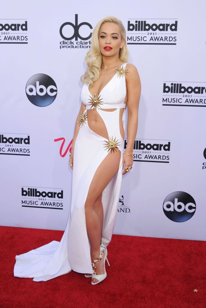 Rita Ora decided to bring the sexy in a revealing white gown.