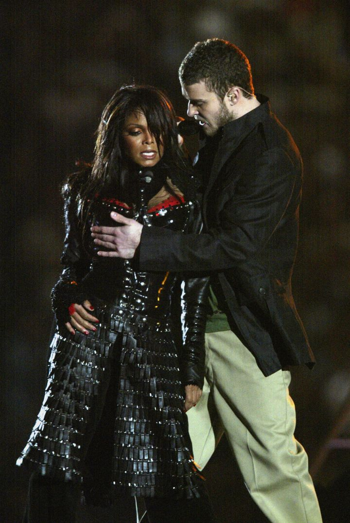 """The infamous """"wardrobe malfunction"""" during the Super Bowl halftime show."""