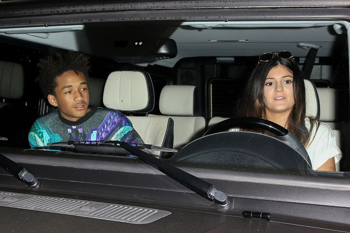 Jaden Smith riding shotgun with skinny-lipped Kylie Jenner.