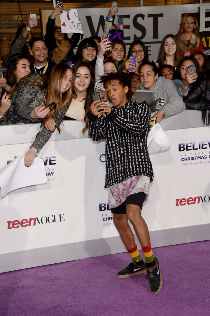Jaden Smith making a bunch of kids' days by taking selfies with someone else's phone.