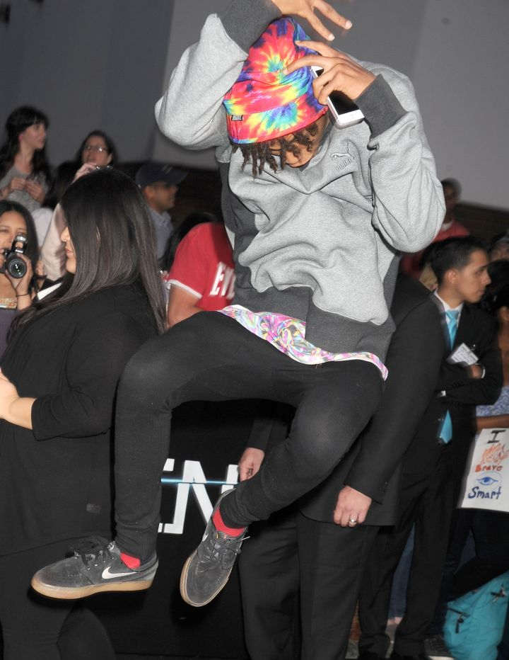 Jaden Smith imitating a Mexican jumping bean.