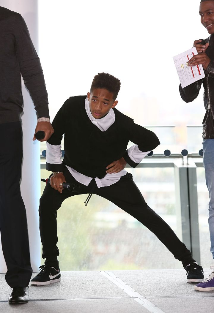 Jaden Smith stretching out his hamstring.