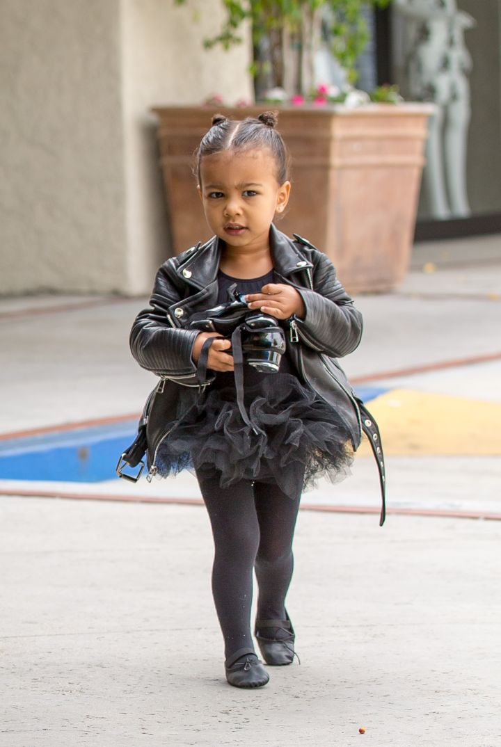 All black everything biker ballerina baby.