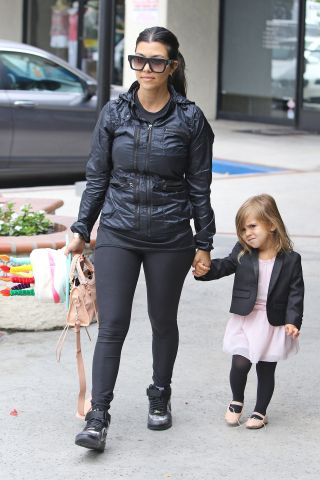 Kim and Kourtney Kardashian drop off North West and Penelope Disick at ballet class