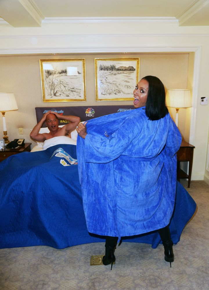 Co-hosts Mel B and Howie Mandel get playful in bed at the 'America's Got Talent Pajama Party' – the season 10 premiere viewing party held at the Ritz-Carlton Hotel in NYC.
