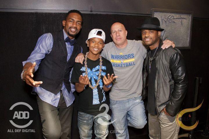 Bill Bellamy poses with Lorenz Tate, DJ Kiss and Steve Lobel.