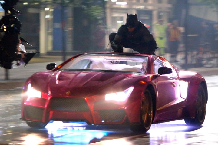 Batman tracks down the Joker in this scene being filmed for Suicide Squad.