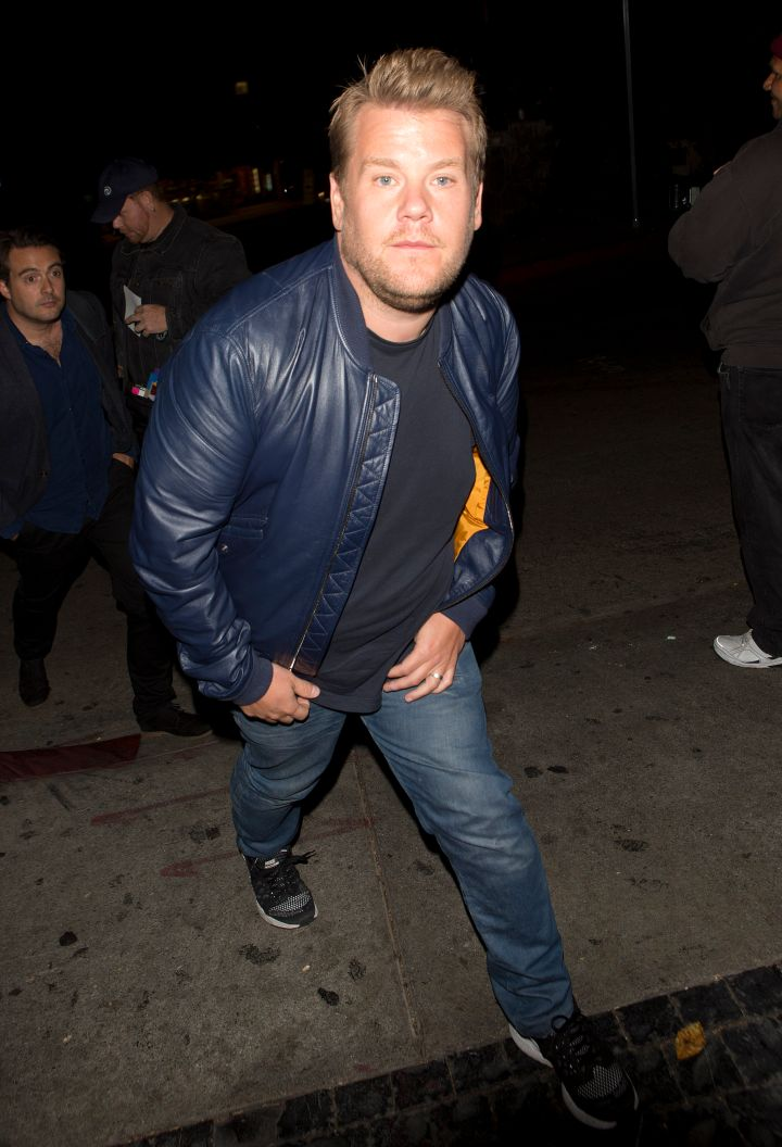 James Corden doesn't try to avoid paparazzi at all while on his way out of the Chateau Marmont hotel.