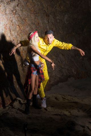 Chris Brown dances on the sand while shooting 'Do It Again' video in Malibu.