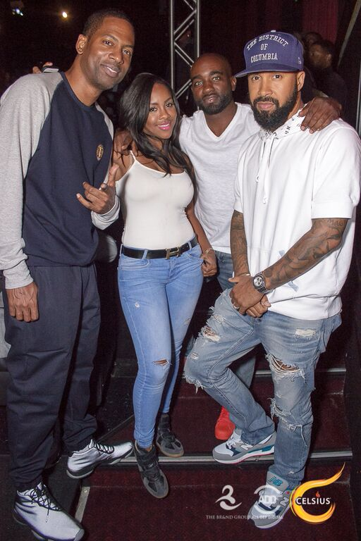 Tony Rock, Miss Diddy, Rob Hill Sr. and Kenny Burns huddle for a group photo at the All Def Comedy Live event presented by Celsius.