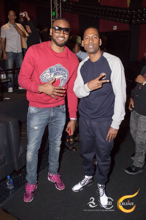 John Wall and Tony Rock pose at the All Def Comedy Live event presented by Celsius.