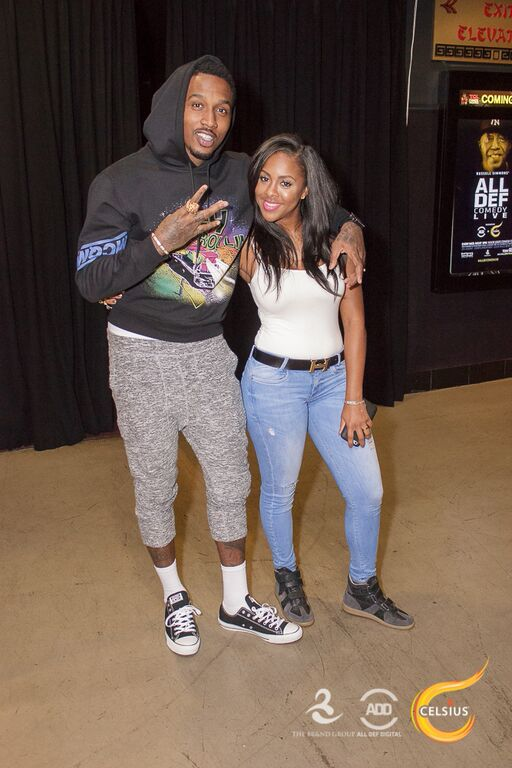 Brandon Jennings throws up the peace sign with Miss Diddy at the All Def Comedy Live event presented by Celsius.