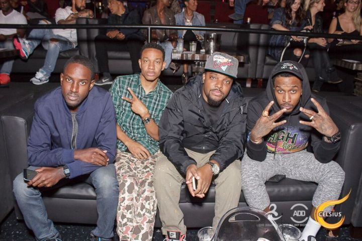 Brandon Jennings hanging out with a few friends at the All Def Comedy Live event presented by Celsius.