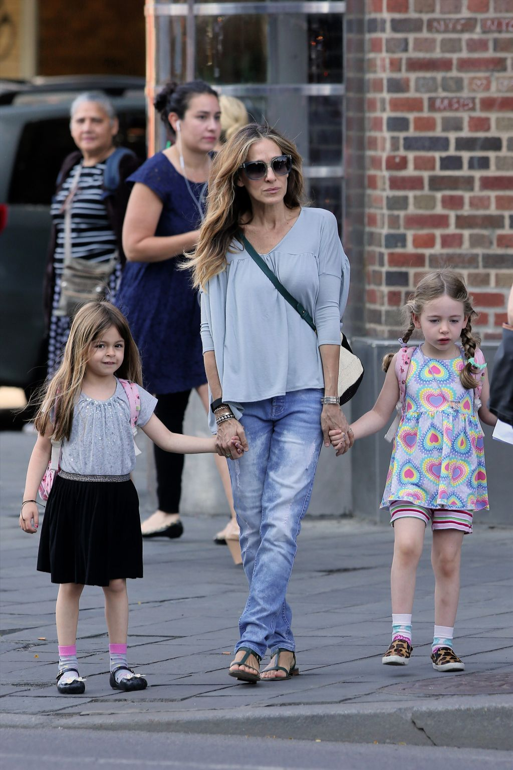 Sarah Jessica Parker and daughters in west village