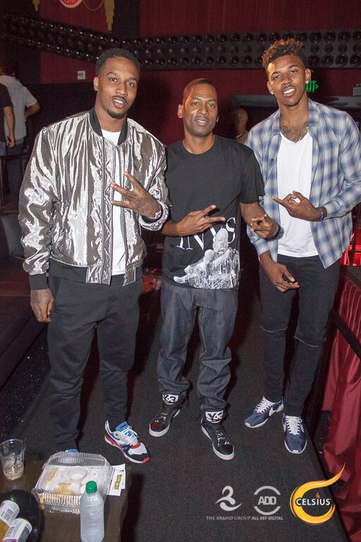 Brandon Jennings, Tony Rock, and Nick Young pose for the camera at the All Def Comedy Live Event sponsored by The Brand Group.