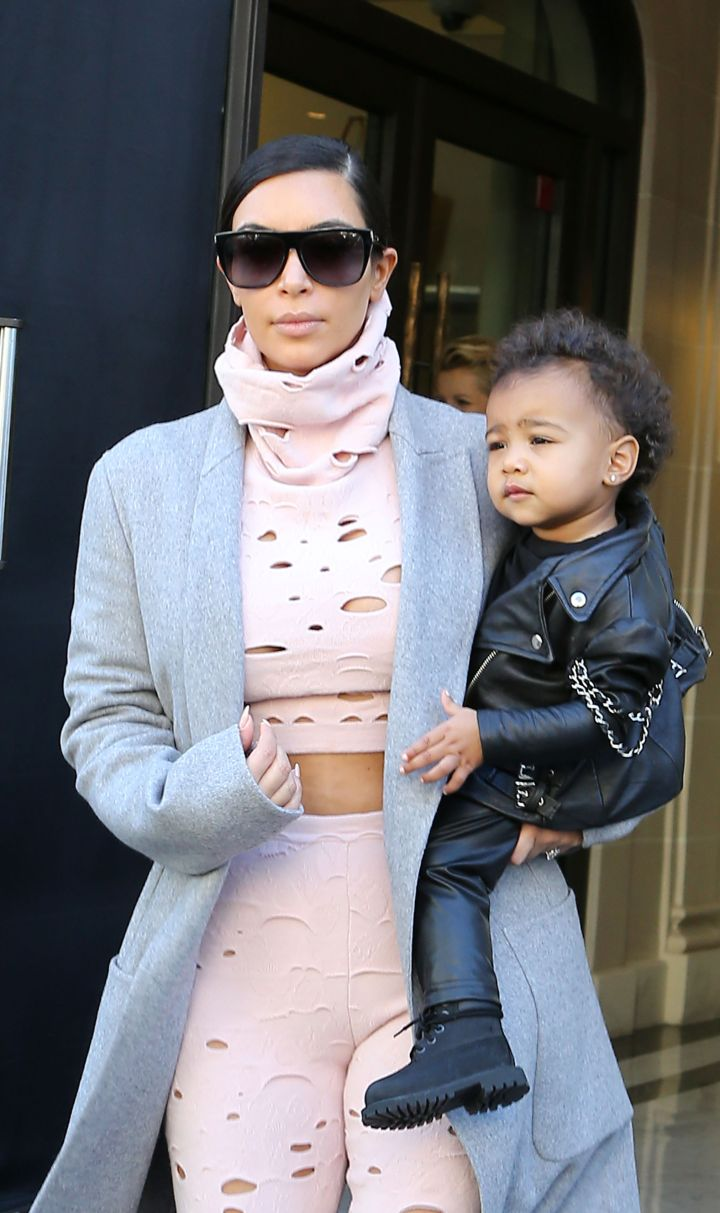 North rocks black leather as well as her daddy does.