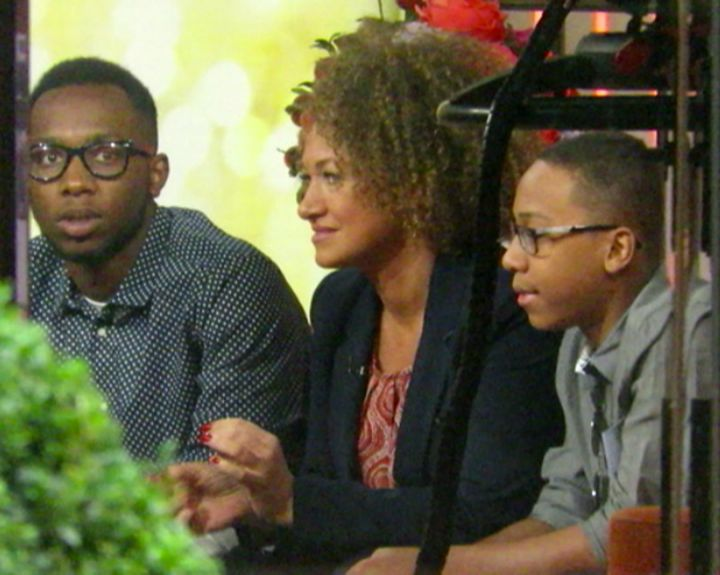 Rachel Dolezal and her two sons pictured after her NBC interview with Matt Lauer.