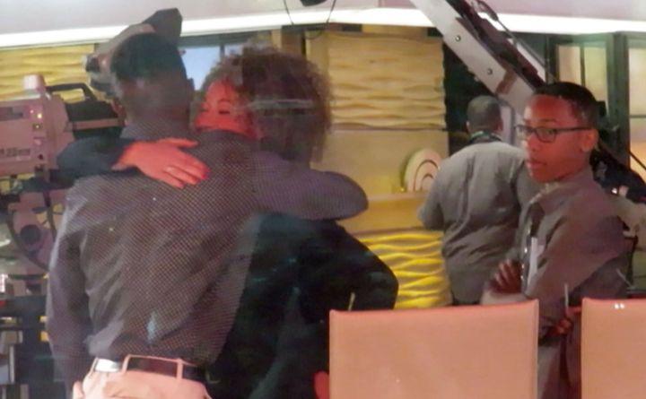 "Rachel Dolezal hugs her son during an appearance on the ""Today"" show."