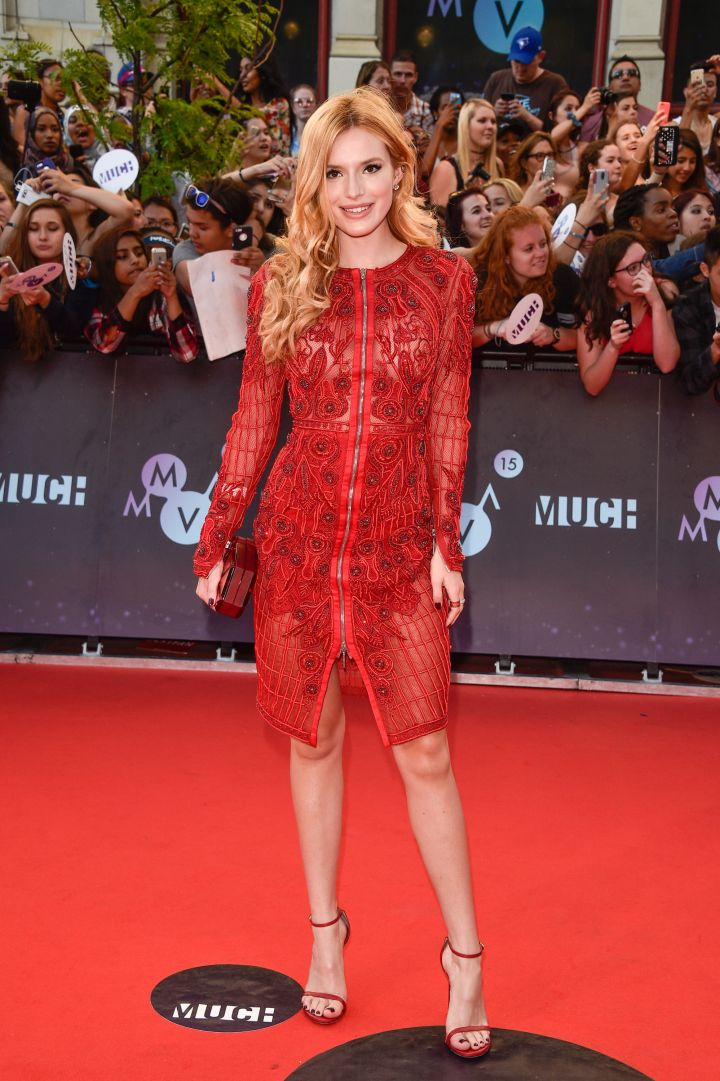 Bella Thorne's red locks complimented her red dress perfectly.
