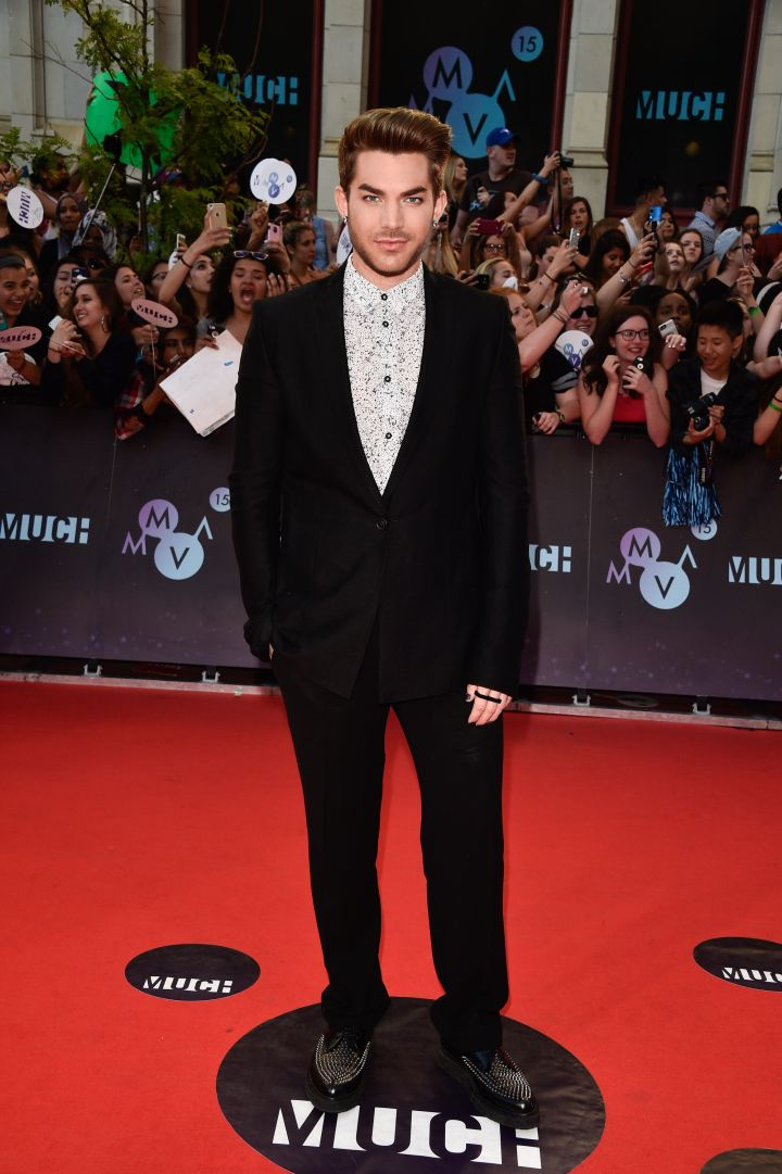 Adam Lambert brought some flare into his look with a printed shirt and bedazzled shoes.