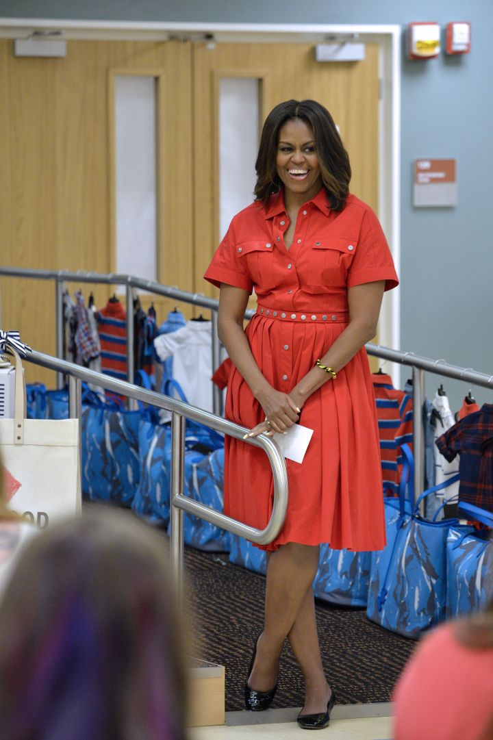 Michelle Obama paid a visit to an expectant mother at the U.S. and Nato military base.
