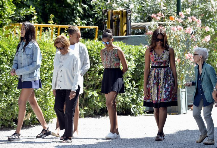 The Obama girls wore flats and Malia covered up with a denim jacket while sight-seeing in Venice.