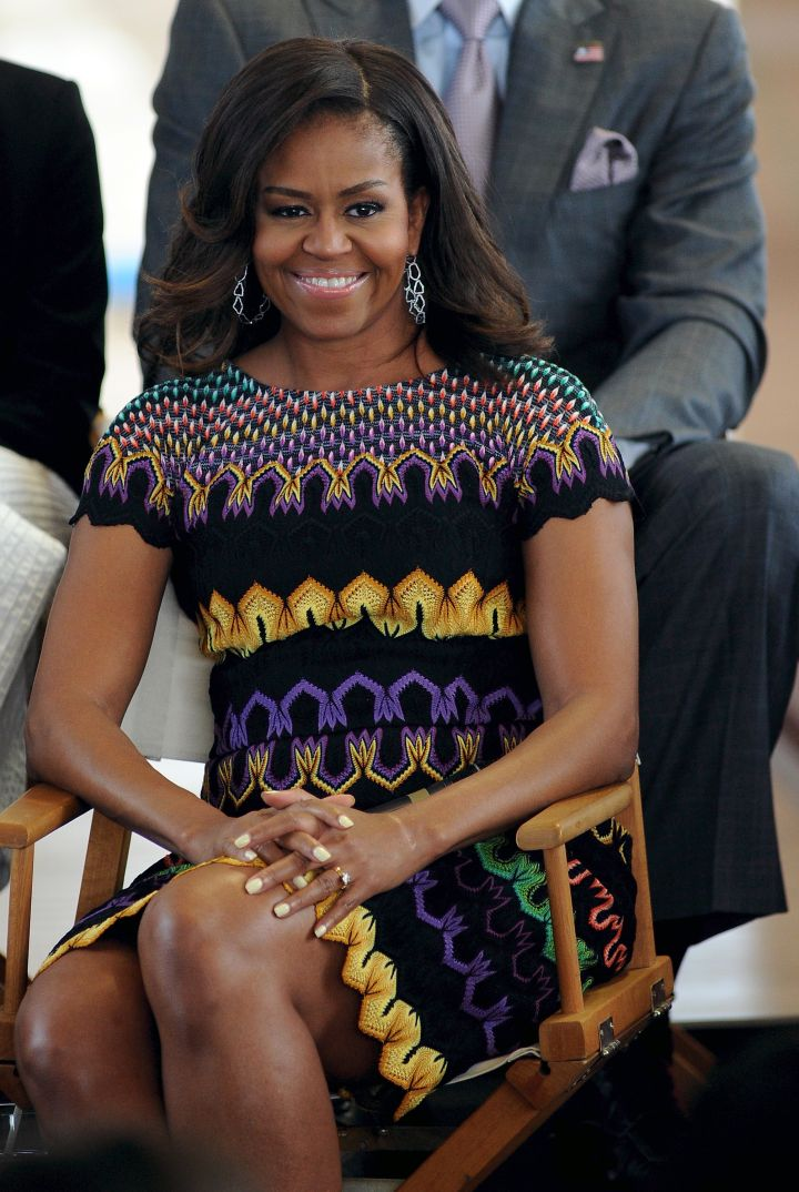 The First Lady attends a Q&A with college students. But our only question: where's the dress from?