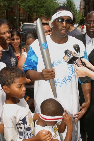 2004 Olympic Torch Relay - Sean 'P. Diddy' Combs in Queens