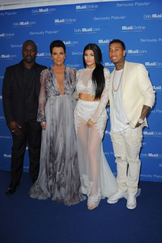 Kylie Jenner, Tyga, Corey Gamble, Kris Jenner at CELEBRITY ARRIVES AT MAILONLINE YACHT PARTY IN CANNES