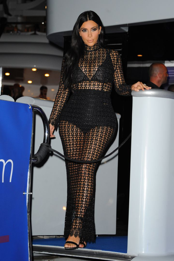 Kim K. gives the world a view of her goodies at DailyMail's Seriously Popular Yacht Party.