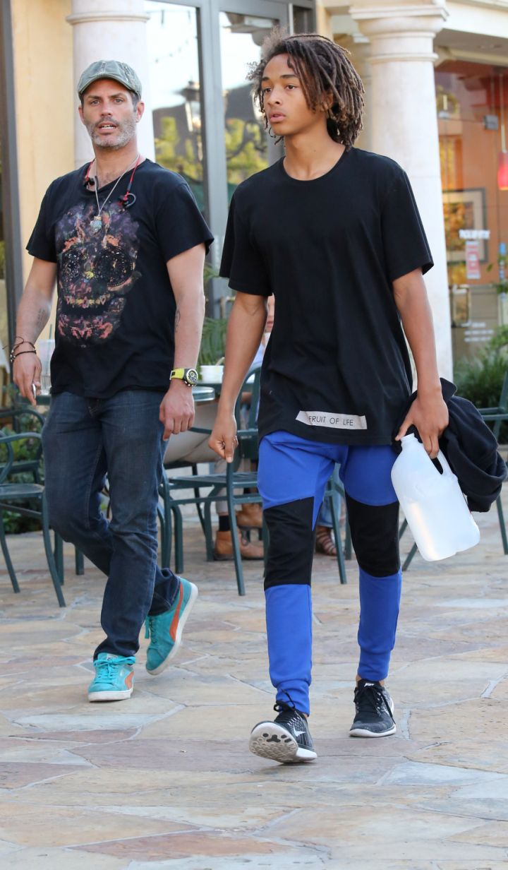 Jaden Smith shows off his always unique style while shopping in Calabasas.