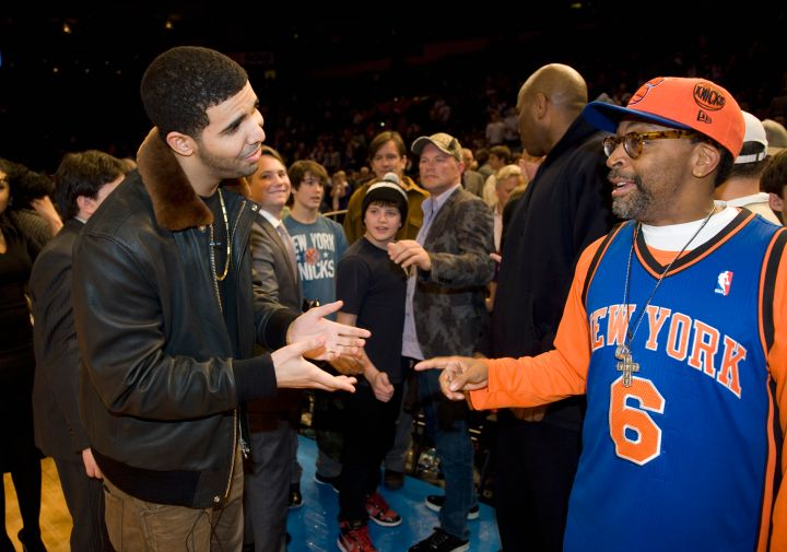 Drake and Spike Lee, the best courtside hecklers of all time, give each other props.
