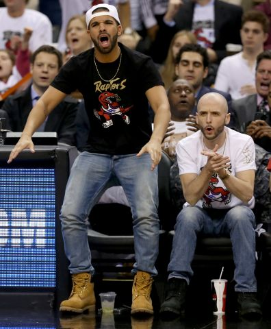 Drake courtside, Toronto Raptors vs Brooklyn Nets game