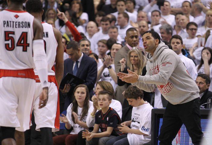 Drake courtside, Brooklyn Nets v Toronto Raptors - Game Two