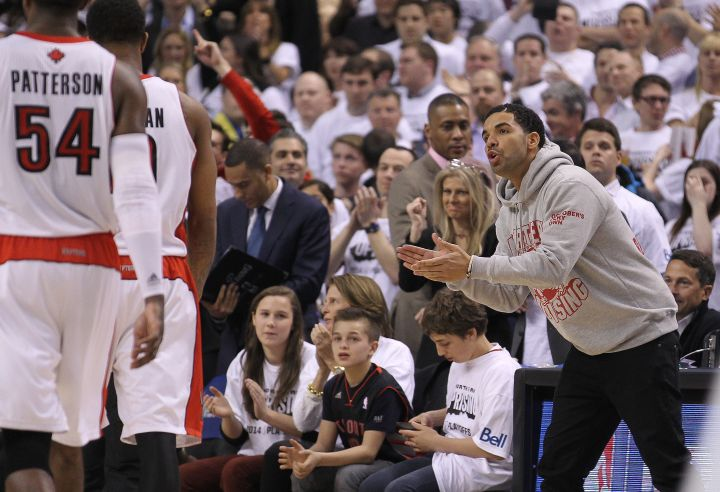 Drake goes hard for his Toronto Raptors while they compete against the Brooklyn Nets.