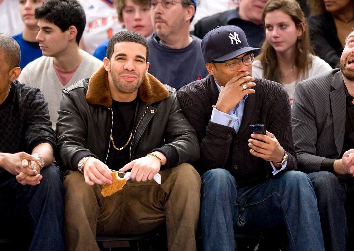 Drake stans out courtside at a NY Knicks Vs. Miami Heat game with Maxwell.