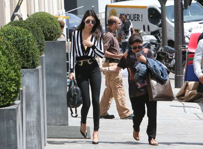 Kendall Jenner at her hotel during Men's Fashion Week in Paris