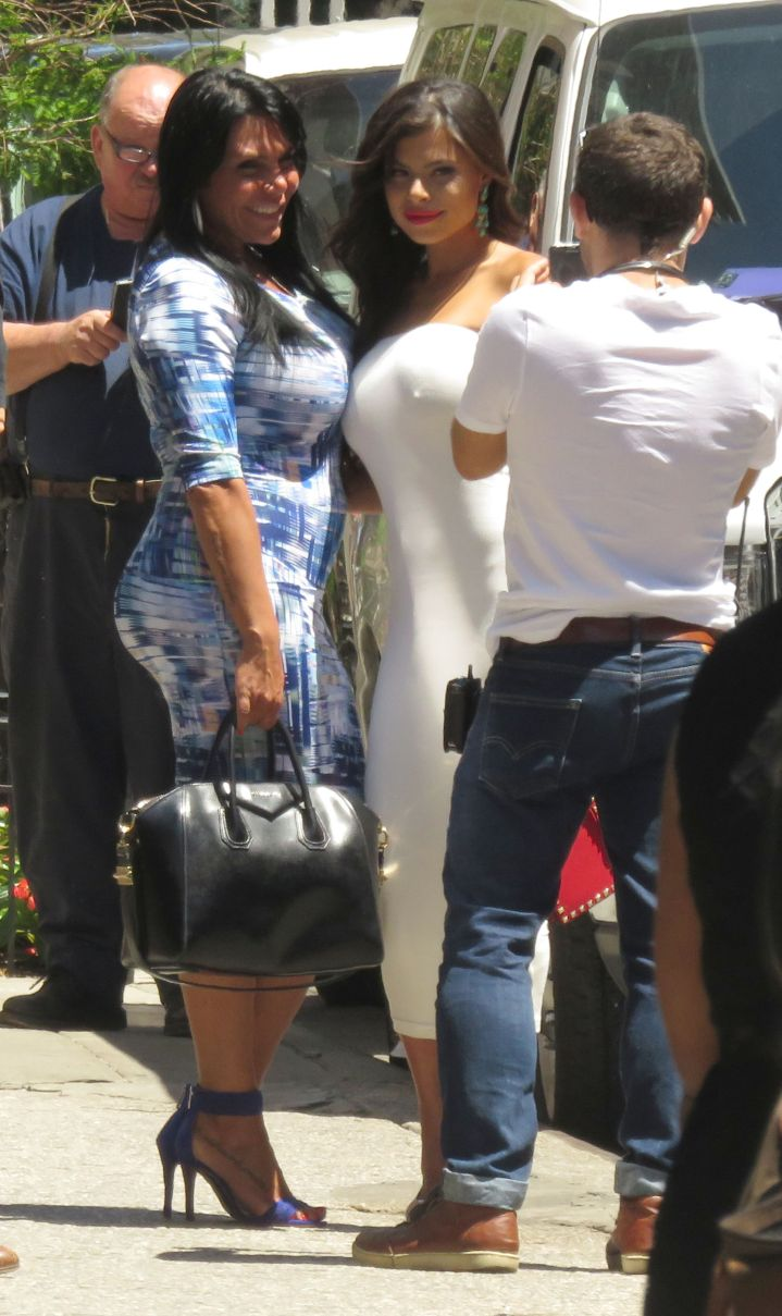 """Renee Graziano films """"Mob Wives"""" with new cast member Marissa Jade in NYC."""