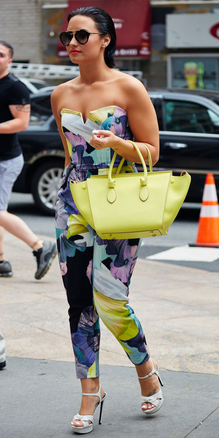 Demi Lovato looked super pretty rocking a colorful floral jumpsuit in Midtown Manhattan.